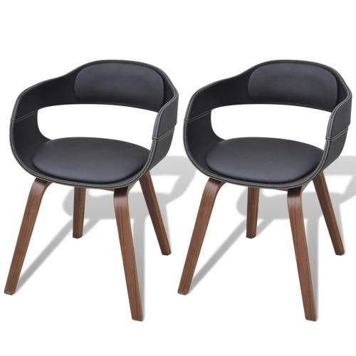 2 x cadeiras bentwood jantar com capa de couro de imitação