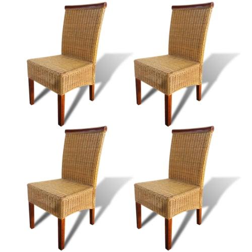 Set aus 4 handgewebten Rattan-Esszimmerstühlen mit dekorativem Holzstreifen