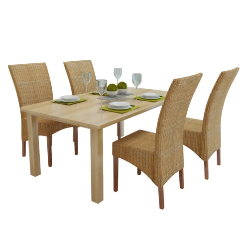 Set of 4 Handwoven Rattan Dining Chairs