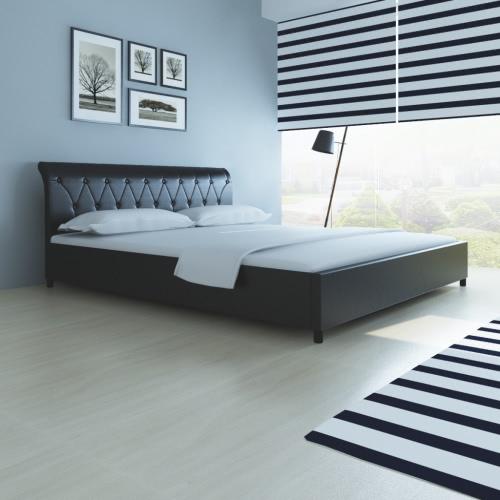 cama de cuero de imitación 180 x 200 cm colchón acolchado negro