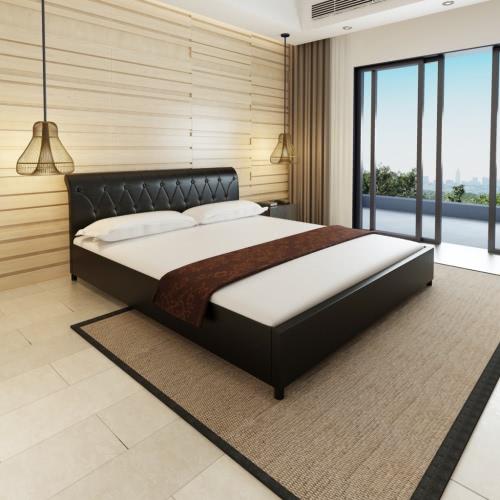 cama de cuero de imitación 180 x 200 cm colchón acolchado negro de la memoria