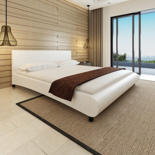Cama de cuero artificial diseño curvo 180x200cm + colchón blanco