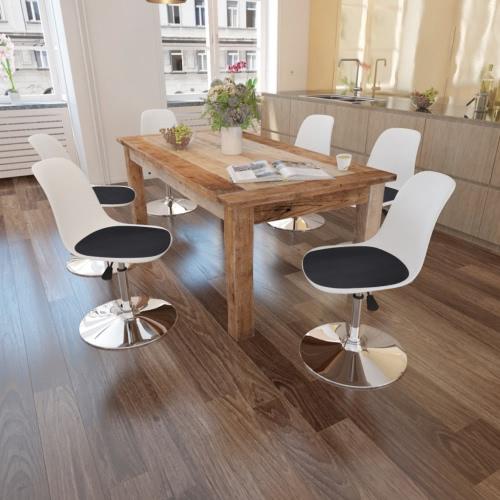 6 Stühle Schwarzweiss-Tabelle Swivel mit einstellbarer Höhe