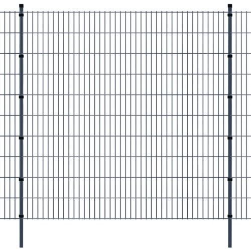 double rod matt fence garden fence & post 2008x2030 mm 46m grey