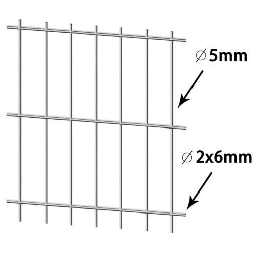 doppia asta di Matt recinto del giardino recinzione 2008x2030 mm 46 m d'argento