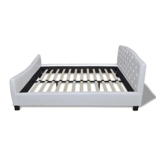 Двуспальная кровать с матрасом из искусственной кожи белого цвета 180x200 см