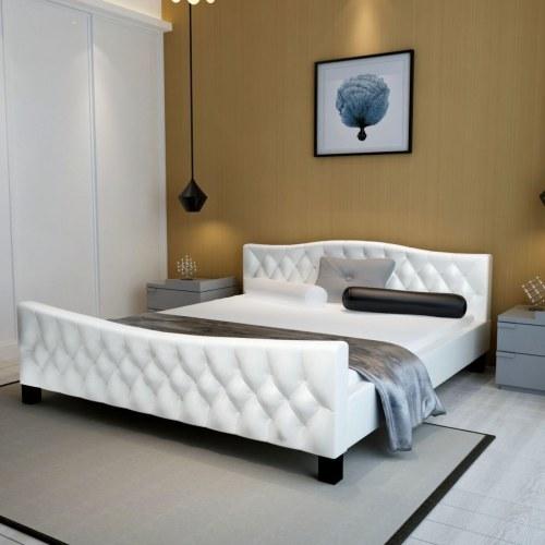 Двуспальная кровать с матовым пенопластом белого цвета 140x200 см