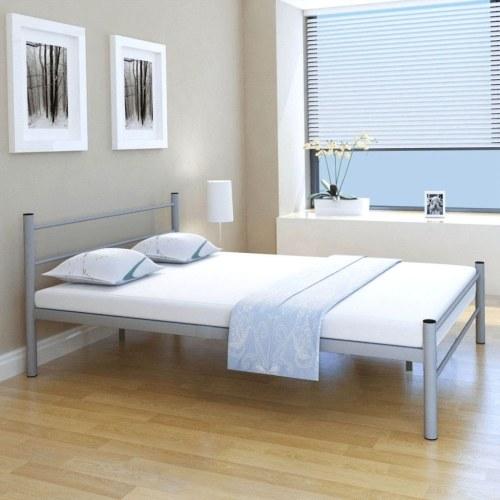 Двуспальная кровать с памятью матрац металлический серый 140x200 см
