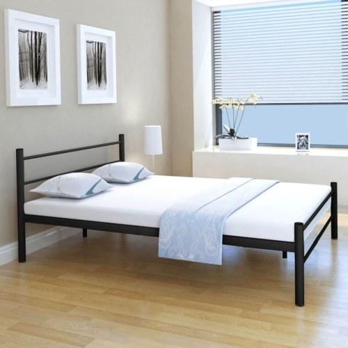 Двуспальная кровать с памятью матрац металлический черный 140x200 см