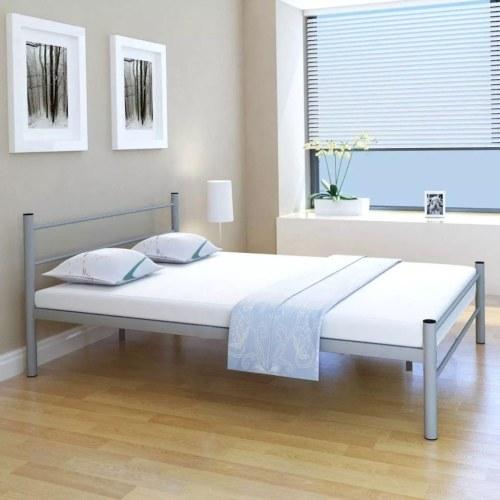 Двуспальная кровать с матрасом металлический серый 140x200 см