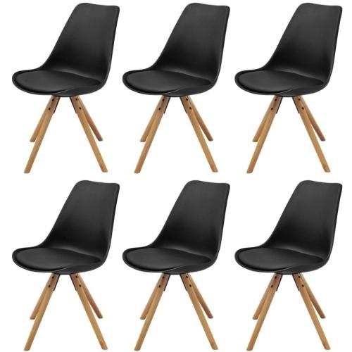 Обеденные стулья 6 шт. Искусственная кожа из черного