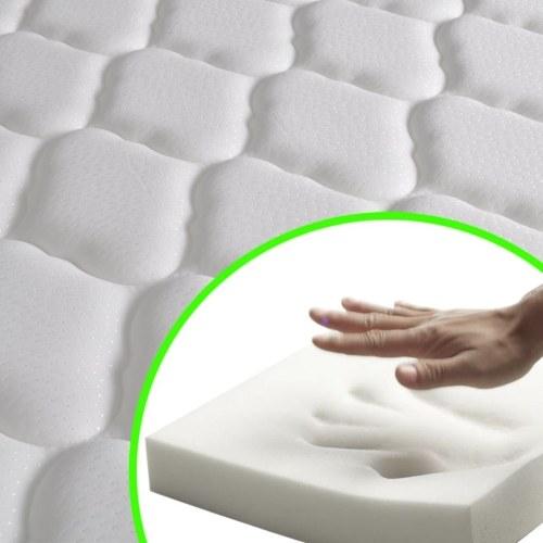 Doppelbett mit Memory-Schaum-Matratze 140 x 200 cm Weiß
