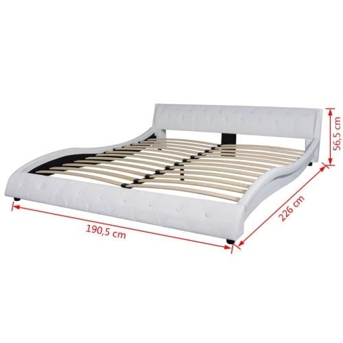 Кровать с матрасом для искусственной кожи 180 x 200 см белый