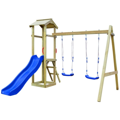 Playhouse Set with Slide Ladder Swings 242x237x218 cm Pinewood