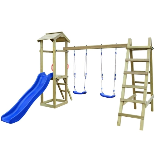 Playhouse Set with Slide Ladders Swings 286x237x218 cm Pinewood (43266+91223+90980)
