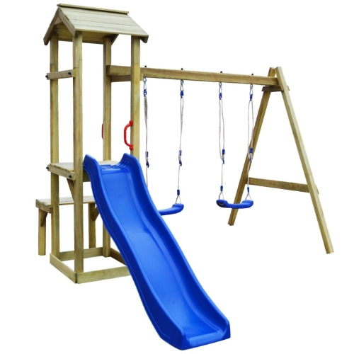 Playhouse Set with Slide Swings 238x228x218 cm Pinewood (43267+91224+90980)