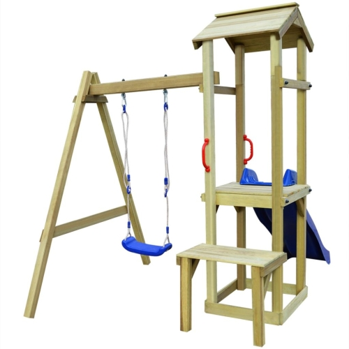 Playhouse Set with Slide Swing 228x168x218 cm Pinewood (43268+91225+90980)