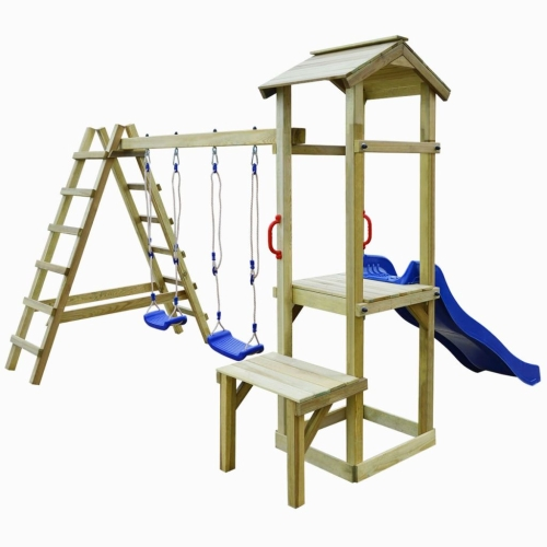 Playhouse Set con Slide Escaleras Columpios 286x228x218 cm Pinewood
