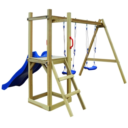 Playhouse Set avec toboggans coulissants 242x237x175 cm Pinewood