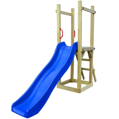 274718 Playhouse Set with Slide Ladder 237x60x175 cm Pinewood (43271+91228+90980)