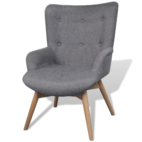Armchair with footstool gray fabric