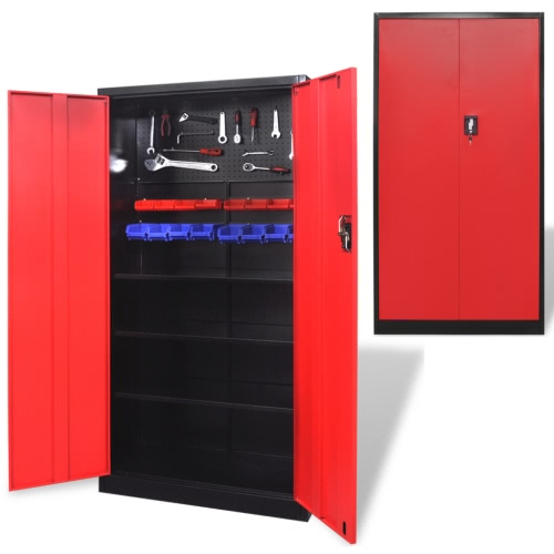 Металлический шкаф для инструментов 180 см черный-красный