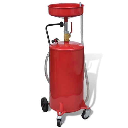 Portable Waste Oil Drain 20 Gallon Tank Air Operated w/ Wheels Hose