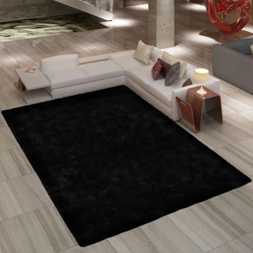 Noir Shaggy Tapis 200 x 290 cm Poids lourd 2600 g / m²
