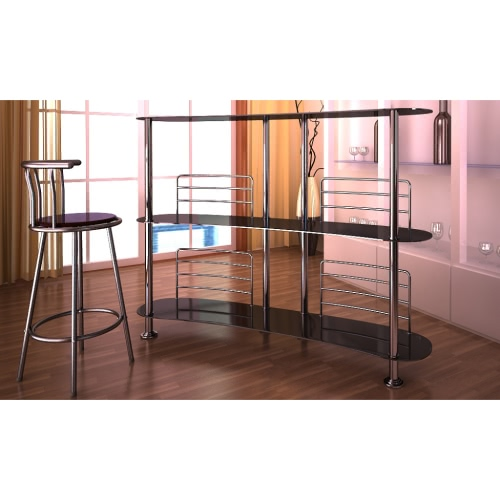 Bar Stand Black Glass Chrome