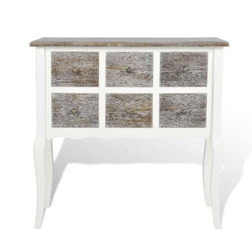Meuble Console 6 tiroirs en bois blanc