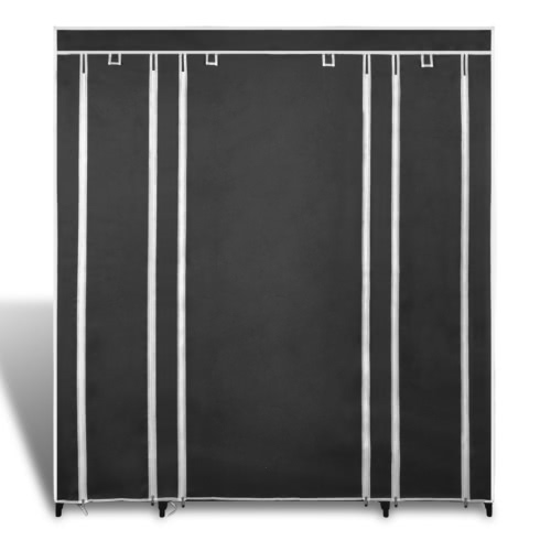 Fabric Cabinet with Compartments 45 x 150 x176 cm Black