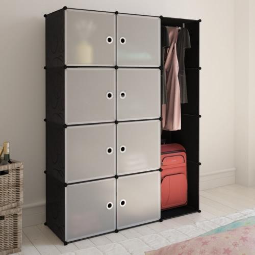 Модульный Шкаф с 9 отсеками черного и белого 37 х 115 х 150 см