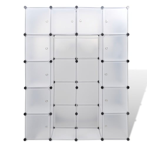 Modular Cabinet with 14 Compartments White 37 x 150 x 190 cm