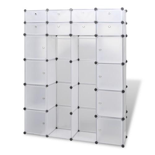 Cabinet modulaire avec 18 compartiments Blanc 37 x 150 x 190 cm