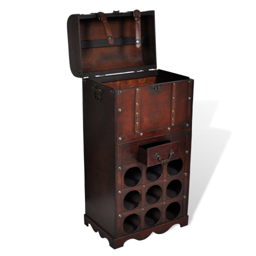 Red Wine Wooden Wine Rack For 9 Bottles Storage Trunk With Drawer