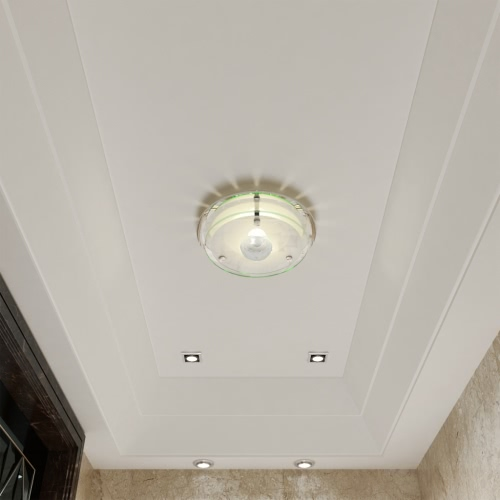 Ceiling Lamp Glass Round 1 x E27 Crystal