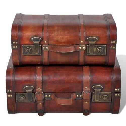 Vintage Wooden Treasure Chest Brown 2 PCS