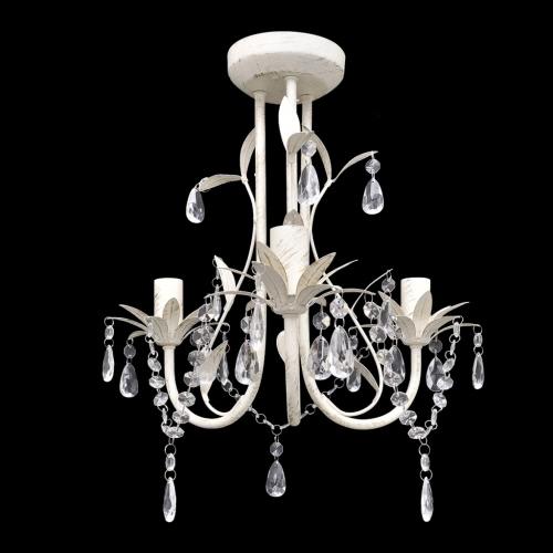 Crystal Pendant Ceiling Lamp Chandelier Elegant White