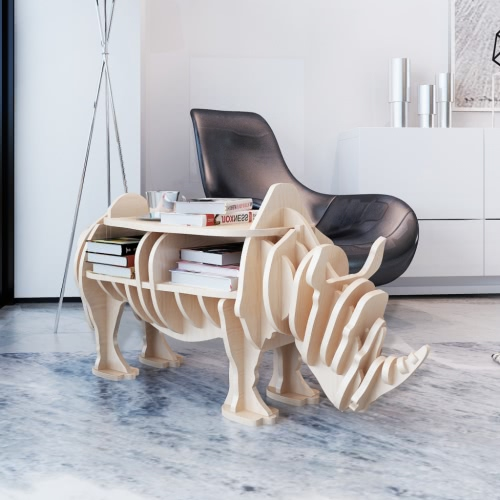 Wooden Rhino Home Decor Shelf Book Organizer Side Table