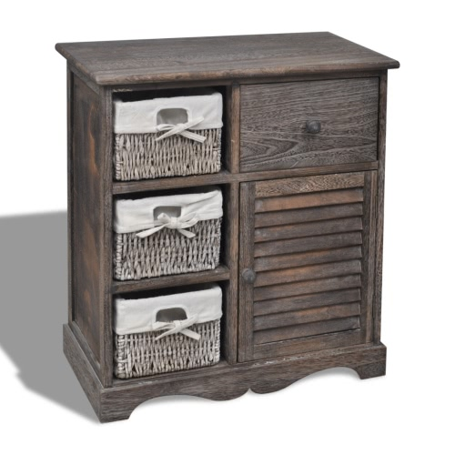 Коричневый деревянный шкаф 3 Левый плетение корзины