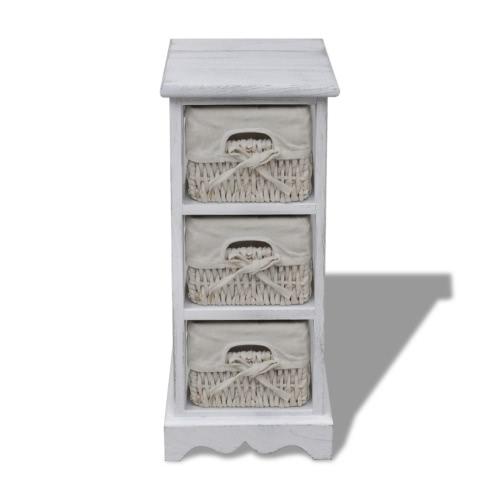 Weiße hölzerne Storage Rack 3 Weaving Baskets