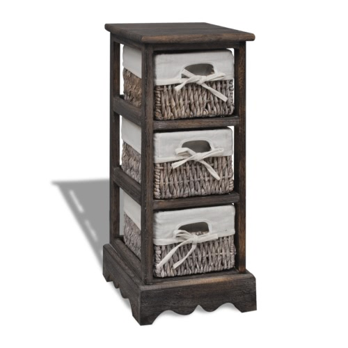 Brown Wooden Storage Rack 3 Weaving Baskets