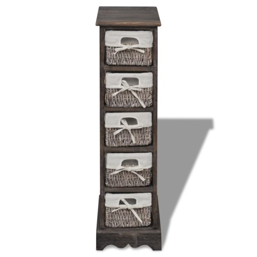 Brown Wooden Storage Rack 5 Weaving Baskets