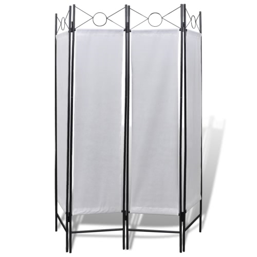 4-Panel Room Divider Privacy Folding Screen White 160 x 180 cm