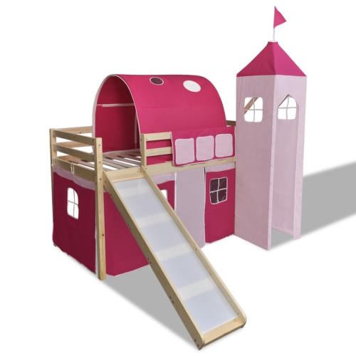 Loft Bed With Slide Ladder Natural Colour Castle-themed