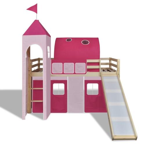 Cama del desván con la diapositiva de escalera Natural Color Castillo-temático