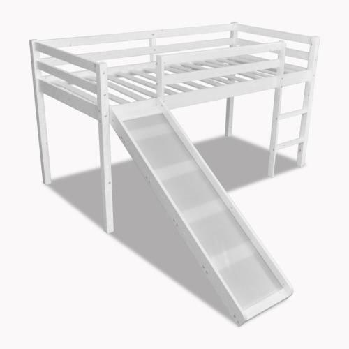 Children Loft Bed White Wood Frame With Slide Ladder
