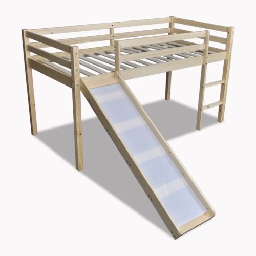 Children Loft Bed Natural Colour With Slide Ladder