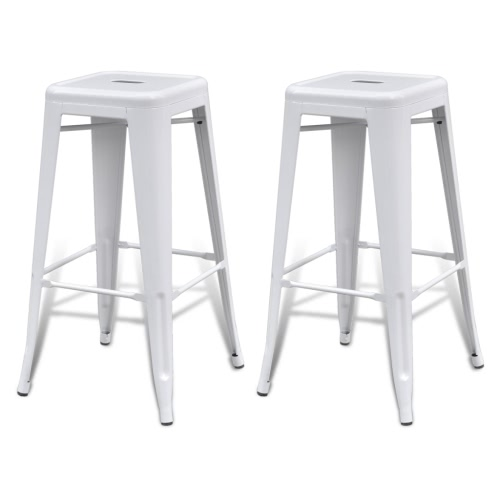 Bar Chair High Chairs Bar Stools Square 2 pcs White