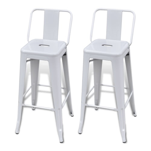 Bar Chair High Chairs Bar Stools Square 2 pcs Back White